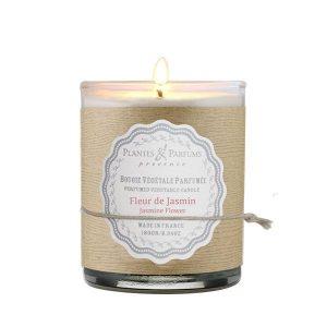 bougie végétale parfumée fleur de jasmin, senteur florale. Cire végétale, mèche 100% coton
