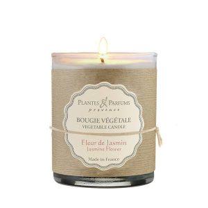 bougie végétale parfumée fleur de jasmin, bougie naturelle senteur florale. Fabrication artisanale, cire 100% végétale, mèche 100% en coton