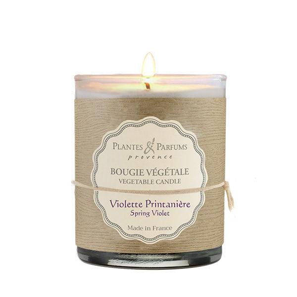 bougie végétale parfumée violette, bougie naturelle senteur florale. Fabrication artisanale, cire 100% végétale et mèche 100% coton.