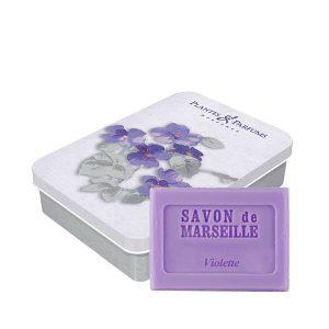 boite violette savon de Marseille parfum violette