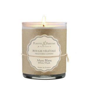 bougie végétale parfumée musc blanc, bougie naturelle parfum poudré. Fabrication artisanale, cire 100% végétale, mèche 100% coton.