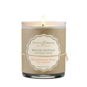 bougie végétale parfumée pamplemousse rose, bougie naturelle senteur fruitée. Fabrication artisanale, cire 100% végétale, mèche 100% coton