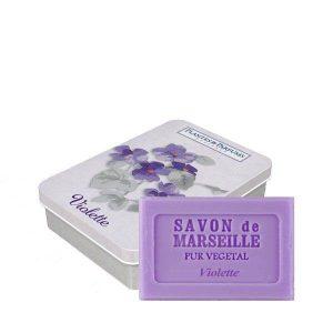 Boîte avec savon Violette 100g