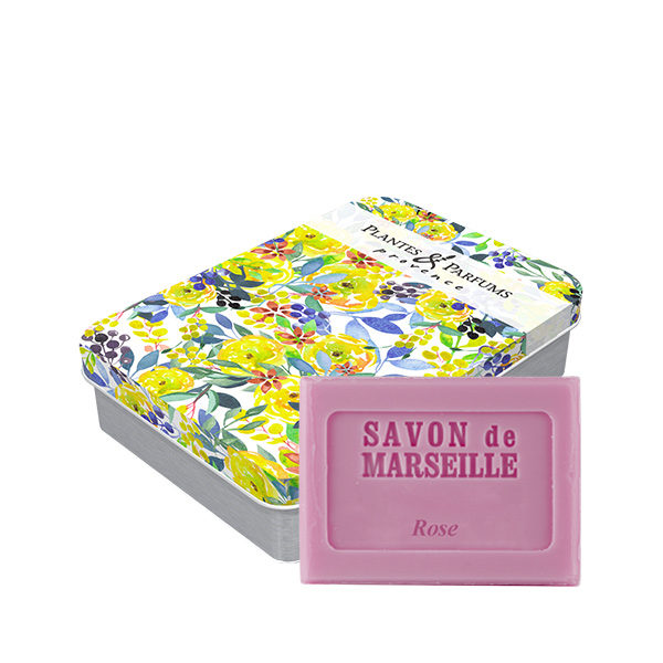 Boîte avec son savon de Marseille parfum Rose