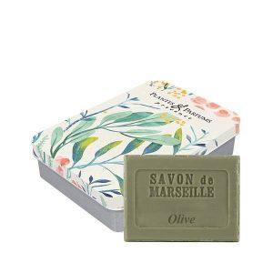 Boîte avec son savon de Marseille Olive