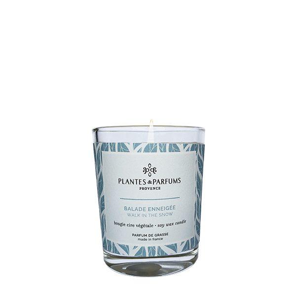 bougie végétale parfumée 75g senteur balade enneigée, parfum naturel et cire 100% végétale