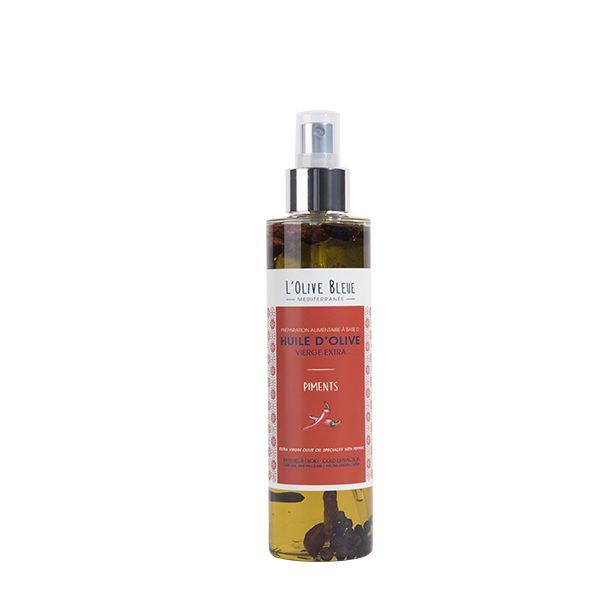 huile d'olive vierge extra aromatisée piment en spray 20cl, huile d'olive catégorie supérieure extraite à froid, idée recette huile d'olive piment