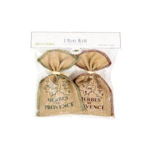 lot 2 petits sacs herbes de provence 50g , toile jute sérigraphiée